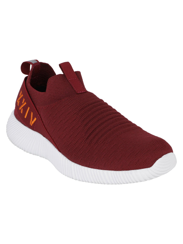 Burgundy - KazarMax XXIV Men's Burgundy Maroon Lifestyle Socks Sneakers / Slipons Shoes