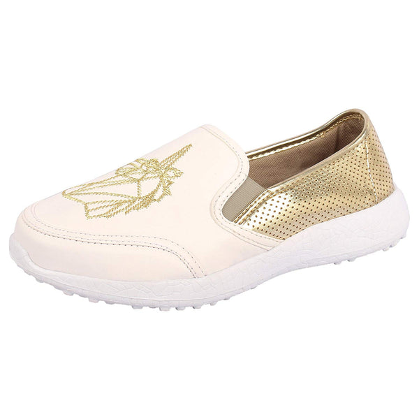 UNICORN DREAMS GOLD - KazarMax Women's Unicorn Embroidered White Faux Leather Slipon Sneakers/Shoes