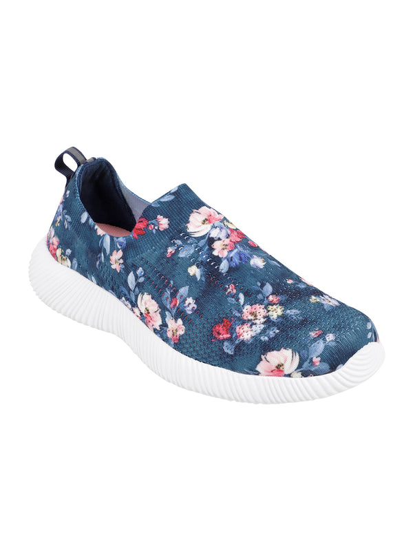WILDFLOWER - KazarMax XXIV Women's & Girl's Comfortable Navy Floral Slipon Socks Sneakers/Trainers