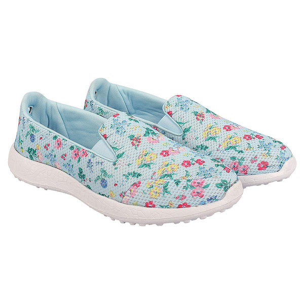 LES FLEURS BLUE - KazarMax XXIV Ladies Light Blue Floral Casual Walking Sneakers/Shoes