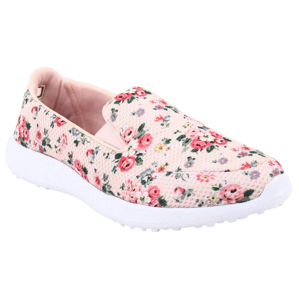 COLOURS OF SPRING - PEACH - KazarMax Women's Floral Printed Memory Foam Walking Slipon Sneakers/Shoes