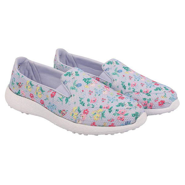 LES FLEURS LAVENDER - KazarMax XXIV Ladies Purple Floral Casual Walking Sneakers/Shoes