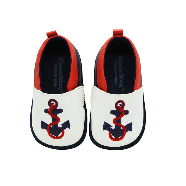 HIGH TIDE TOOTSIES - KazarMax Anti-Skid Anchor Embroidered Breathable Soft Comfortable White Blue New Born Baby Boy Shoes/Booties