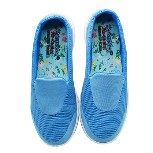 COOL BLUE - KazarMax Women's & Girl's Turquoise Multicolour Floral Comfortable Walking Slipons/Sneakers