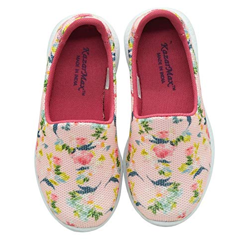 PEACHES N CREAM - TWINNING - KazarMax Girl's & Women's Peach Floral Printed Slipon/Loafer/Sneaker Shoes