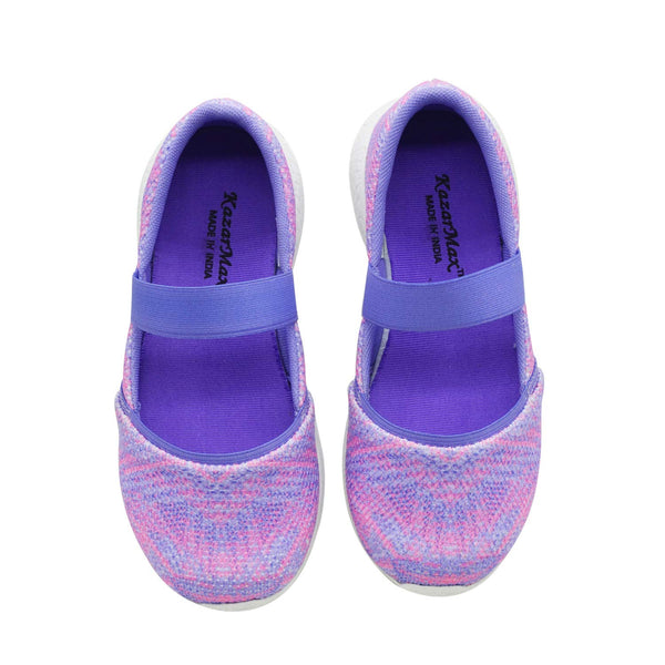 COTTON CANDY - TWINNING - KazarMax Girl's & Women's Memory Foam Purple Pink Printed Ballerina/Bellies/Slipon Shoes