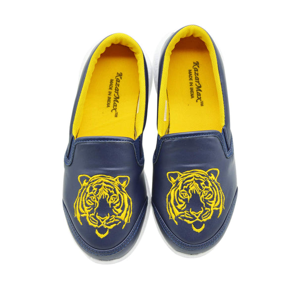 NAVY PRIDE - KazarMax Blue Lion Embroidered Slipon Loafers/Shoes