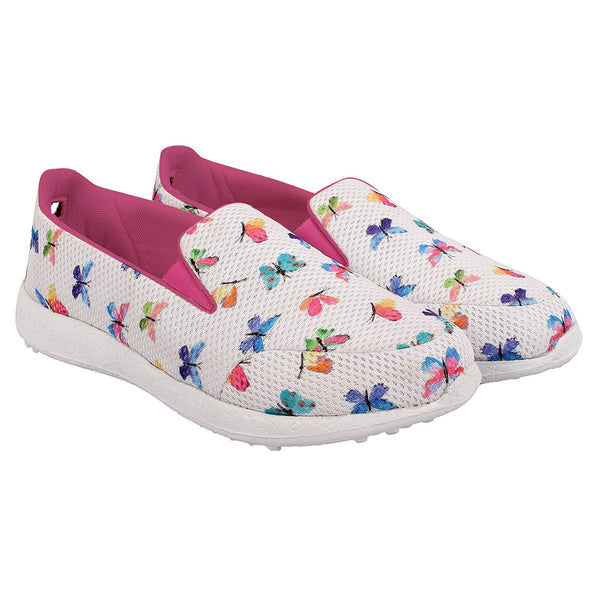 FLUTTER BY - TWINNING KazarMax Girl's & Women's Memory Foam White Multicolour Butterfly Printed Ballerina/Bellies/Slipon Shoes