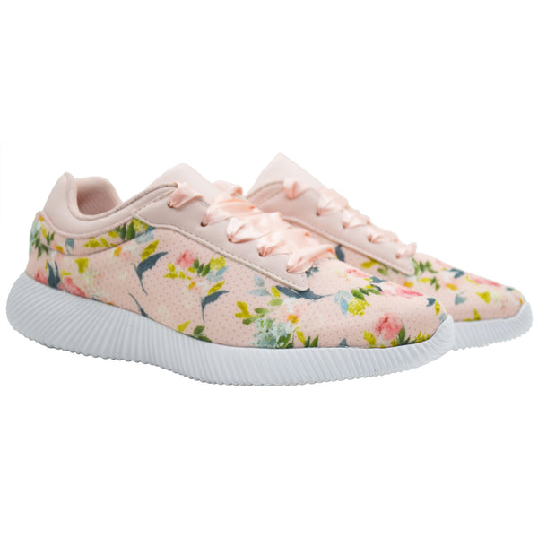 LES FLEURS PEACH - KazarMax XXIV Ladies Peach Floral Casual Walking Sneakers/Shoes