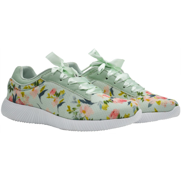 LES FLEURS SEA GREEN - KazarMax XXIV Ladies Sea Green Floral Casual Walking Sneakers/Shoes