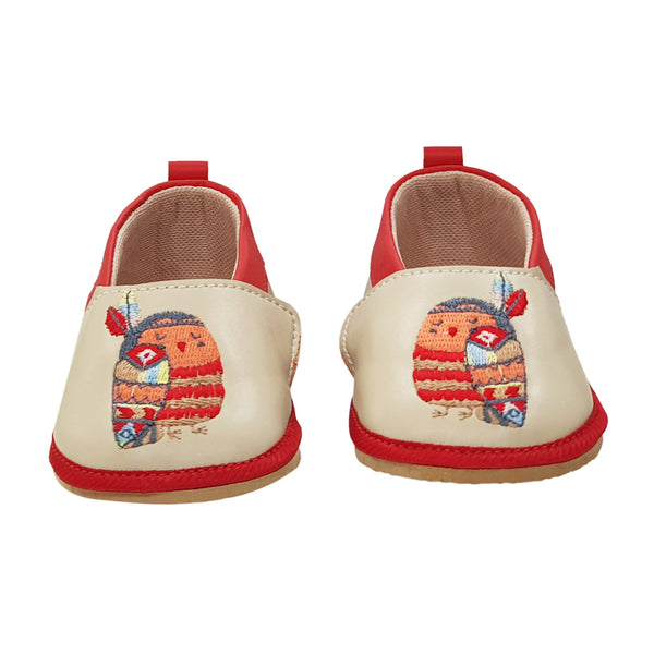 TWIT TWOO TOOTSIES - KazarMax Anti-Skid Owl Embroidered Breathable Soft Comfortable Beige New Born Baby Boy & Girl Shoes/Booties