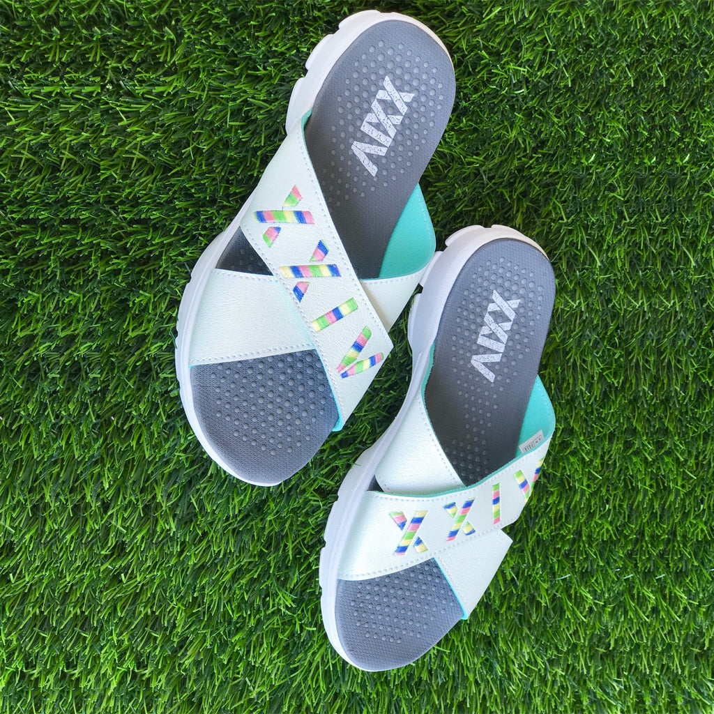 CRISS CROSS WHITE - KazarMax XXIV Boy's & Girl's (Unisex) White Multicolour Embroidered Memory Foam Anti Skid Slippers