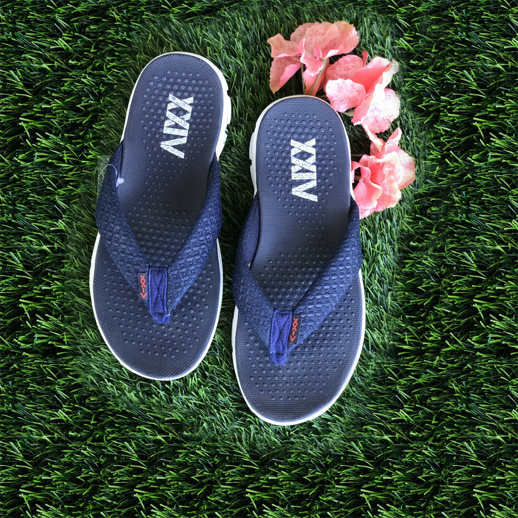 DENIM HEAD - KazarMax Ladies's Navy Blue Memory Foam Anti Skid Slippers