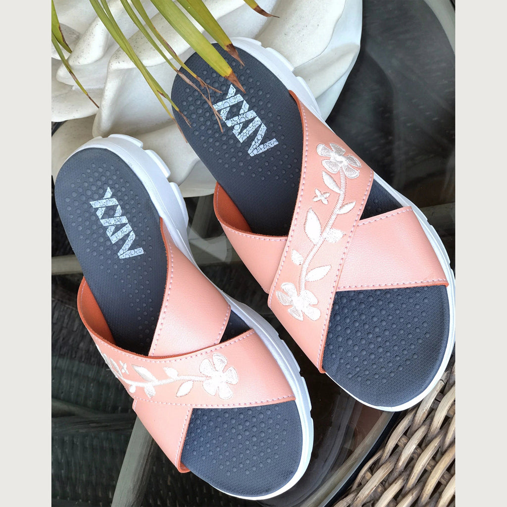 CRISS CROSS PEACH FLORAL - KazarMax XXIV Women's Peach White Embroidered Memory Foam Anti Skid Slippers