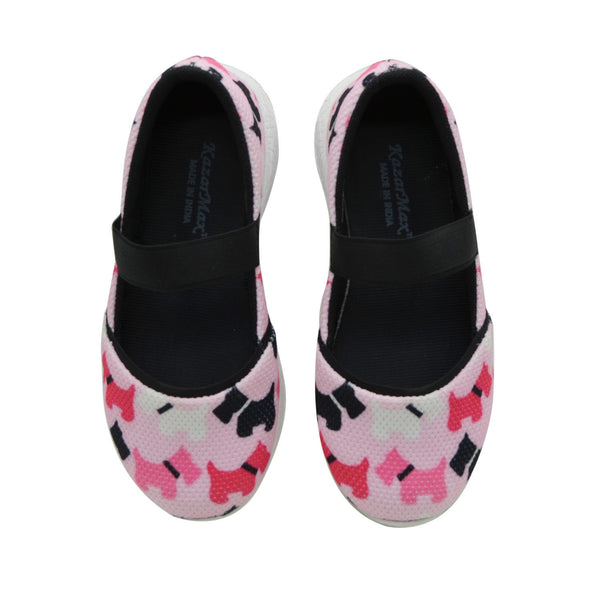 PUPPY LOVE - KazarMax Girl's Memory Foam Pink Black Dogs Printed Ballerina/Bellies/Slipon Shoes