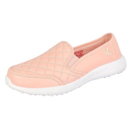 ATTITUDE PINK - KazarMax Women's Faux Leather Quilted Walking Slipon Sneakers/Shoes