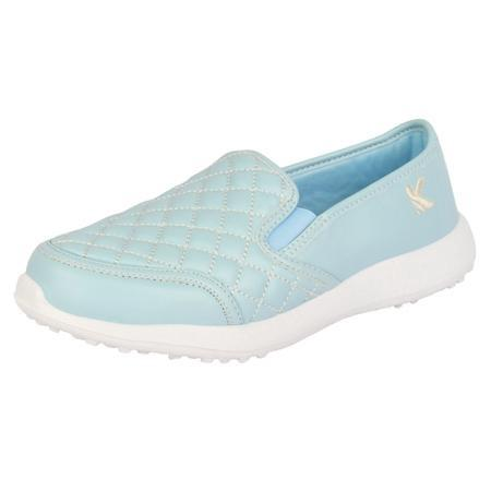 SKY'S THE LIMIT - KazarMax Boy's & Girl's (Unisex) Faux Leather Light Blue Quilted Walking Slipon Sneakers/Shoes