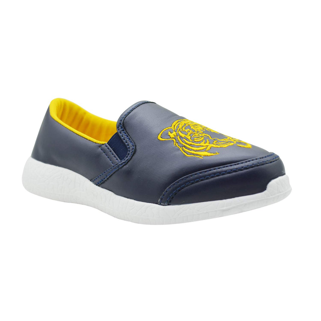 KazarMax Lightweight Navy PU with Lion Formal Slip-On/Loafers/Sneakers