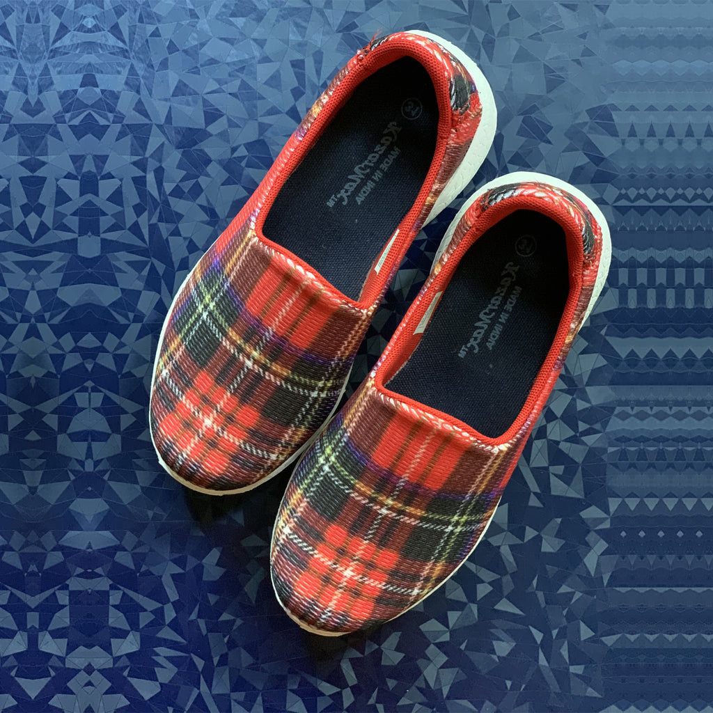 CHECKERED - RED - KazarMax Boy's & Girl's (Unisex) Red Navy Printed Slipon/Loafer/Sneaker Shoes