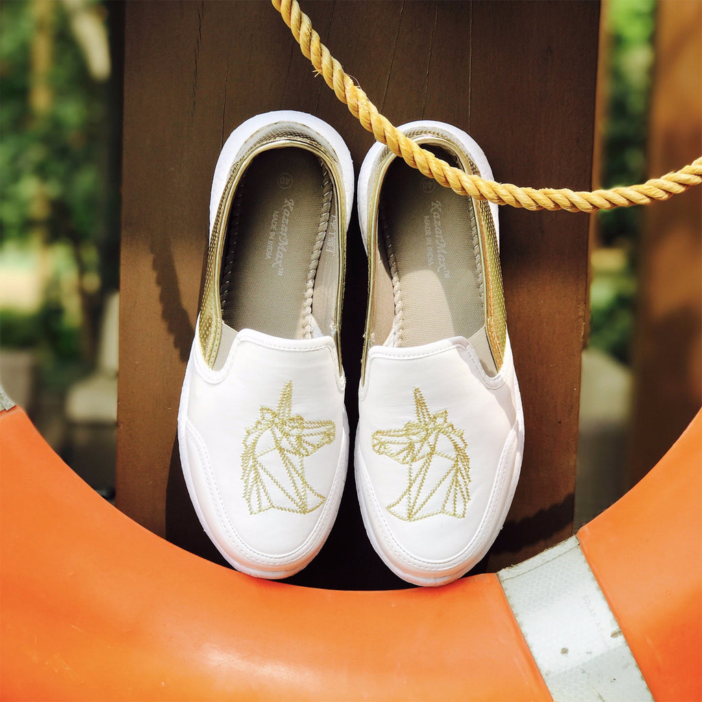 white and gold loafers for women and girls