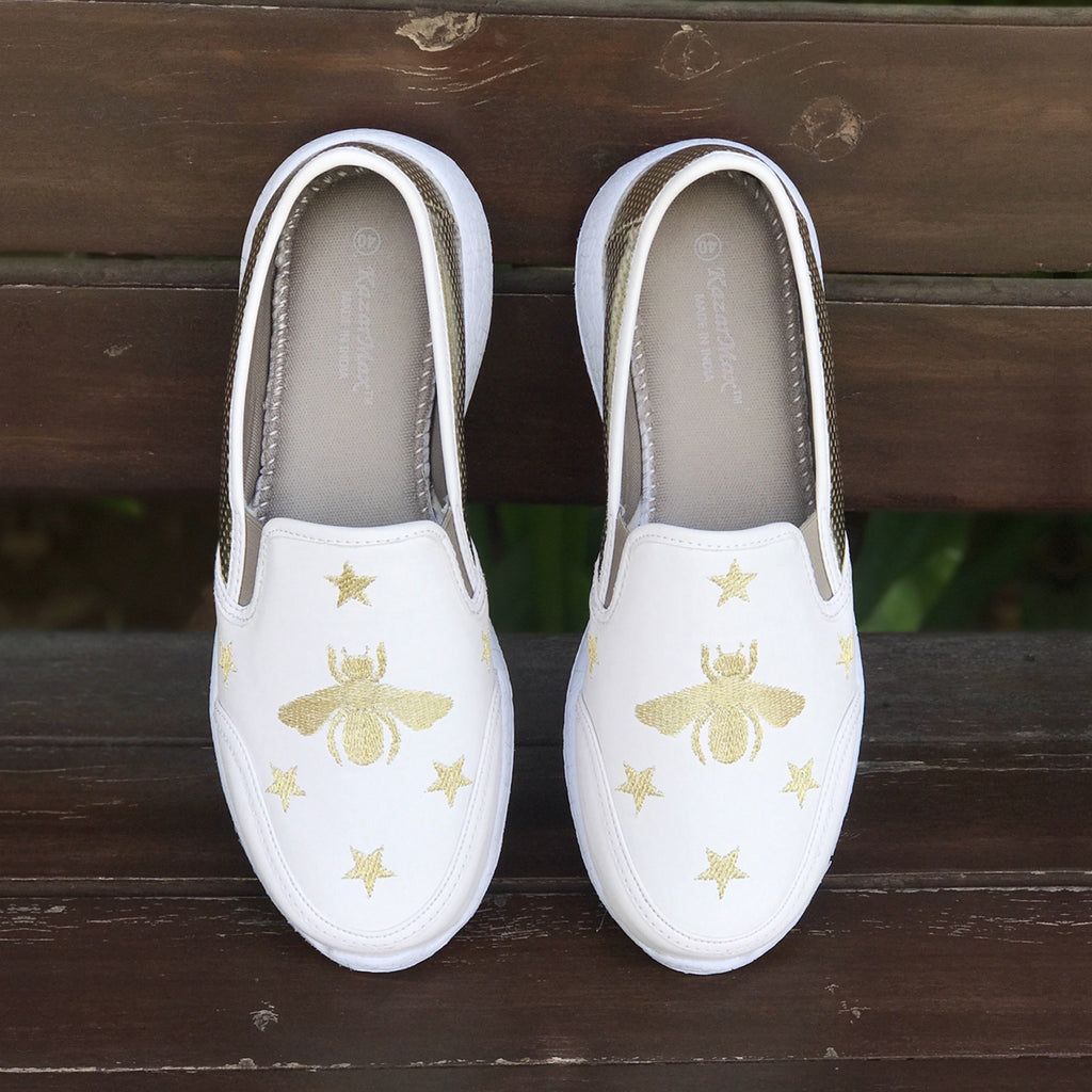 BEE-UTIFUL - KazarMax Women's Bee Embroidered White Gold Faux Leather Slipon Sneakers/Shoes