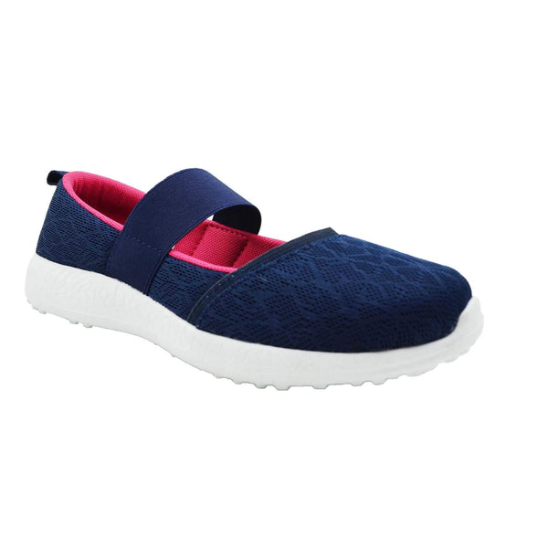 DARK ORCHIDS - KazarMax Women's & Girl's Navy Pink Floral Printed Memory Foam Ballerinas/Bellies/Slipons