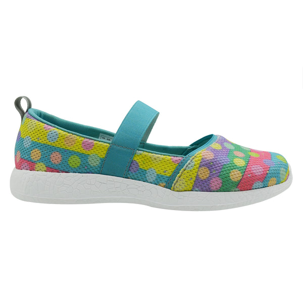 POLKA PRINCESS - KazarMax Girl's Memory Foam Sea Green Multicolour Dots Printed Ballerina/Bellies/Slipon Shoes