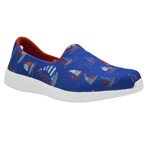 SAILBOATS - KazarMax Boy's Blue Red Nautical Printed Slipon/Loafer/Sneaker Shoes