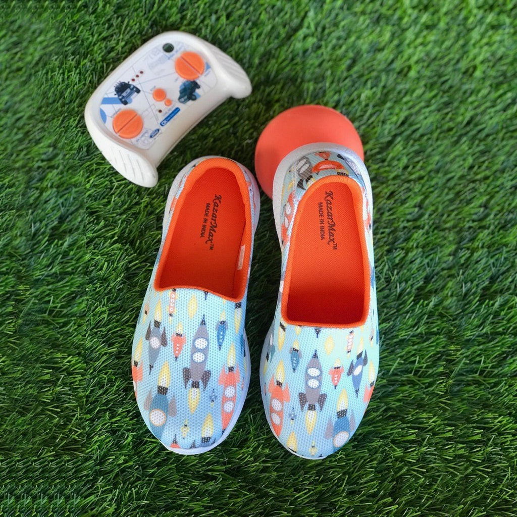 BLAST OFF - KazarMax Boy's Blue Orange Rocket Printed Slipon/Loafer/Sneaker Shoes