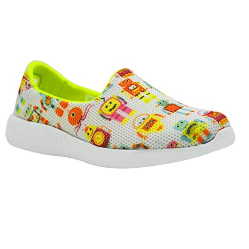 ROBO DANCE - KazarMax Girl's & Boy's (Unisex) White Multicolour Robot Printed Slipon/Loafer/Sneaker Shoes