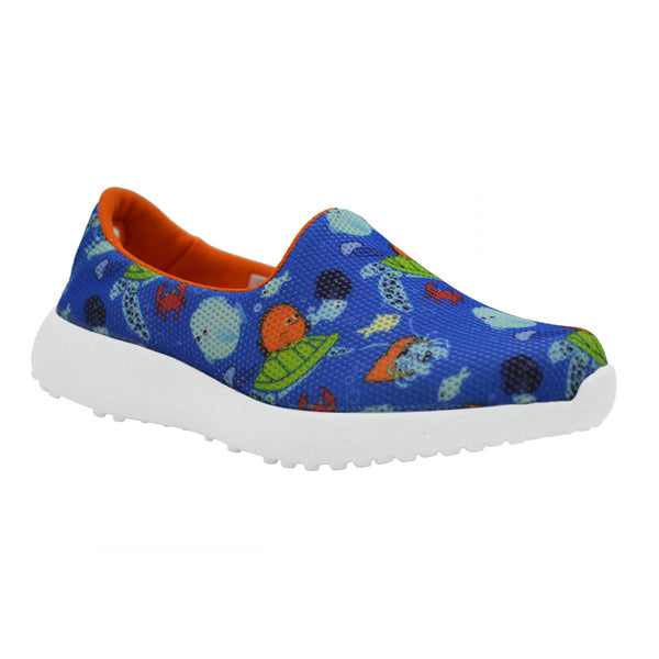 SEA LIFE - KazarMax Boy's Navy Blue Orange Underwater Printed Slipon/Loafer/Sneaker Shoes