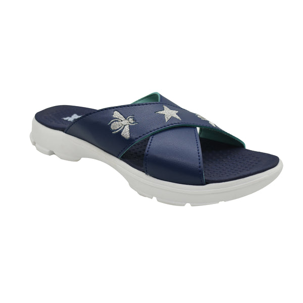 CRISS CROSS NAVY SILVER - KazarMax XXIV Women's Bee Star Embroidered Memory Foam Anti Skid Slippers