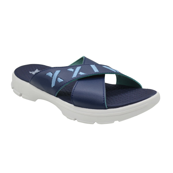 CRISS CROSS NAVY TURQUOISE - KazarMax XXIV Boy's & Girl's (Unisex) Embroidered Memory Foam Anti Skid Slippers