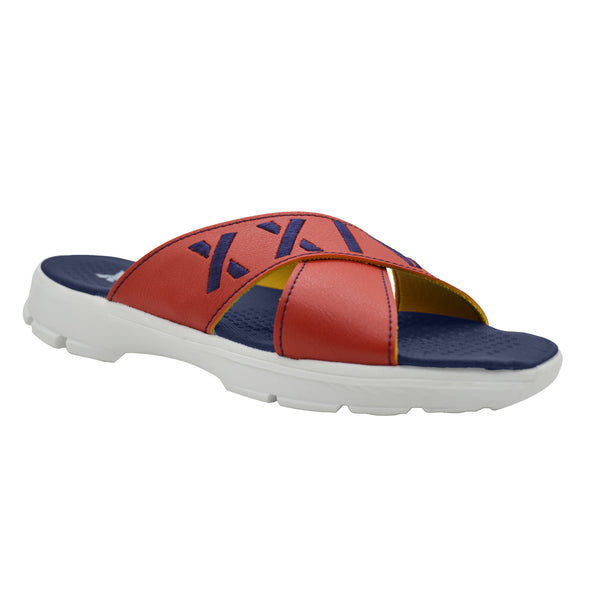 CRISS CROSS RED NAVY - KazarMax XXIV Boy's & Girl's (Unisex) Red Navy Embroidered Memory Foam Anti Skid Slippers