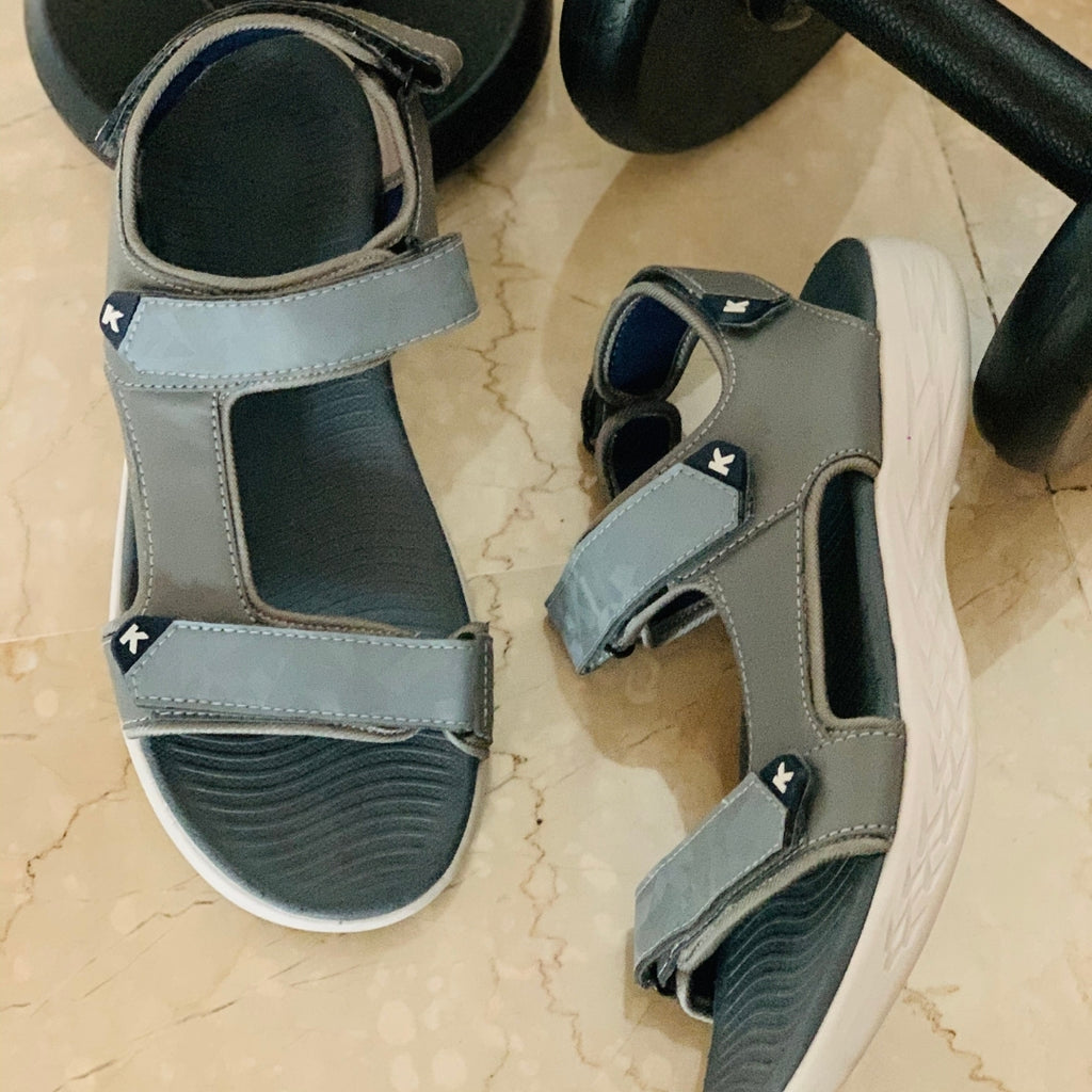 Slate : KazarMax Boys/Mens Grey-Navy Sandals