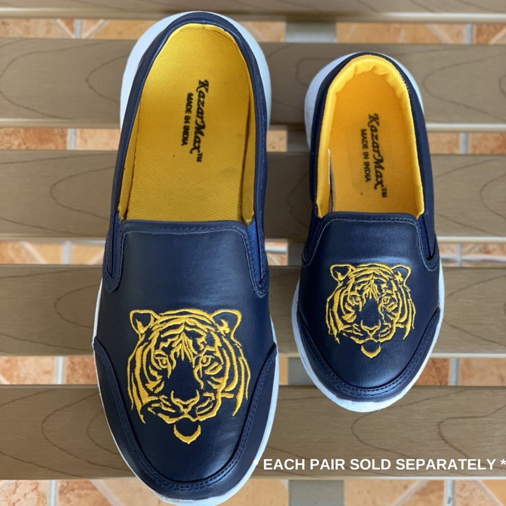 NAVY PRIDE - Twinning Blue Lion Embroidered Slipon Loafers/Shoes