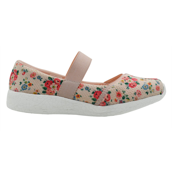 COLOURS OF SPRING - KazarMax Girl's Memory Foam Peach Floral Printed Ballerina/Bellies/Slipon Shoes