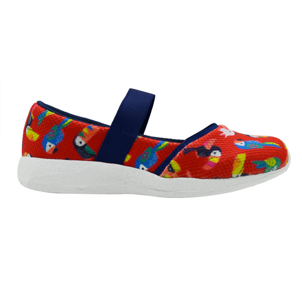 BIRDS OF A FEATHER - KazarMax Girl's Memory Foam Red Navy Ballerina/Bellies/Slipon Shoes
