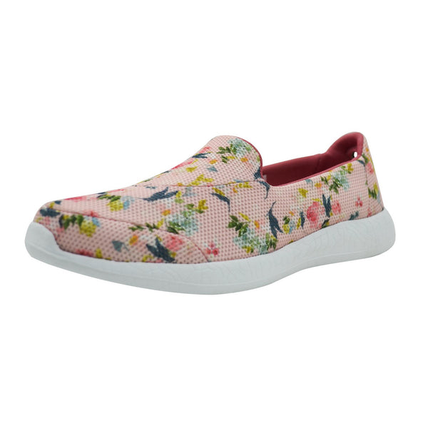PEACHES N CREAM - KazarMax Women's Pink Peach Floral Comfortable Walking Slipons/Sneakers