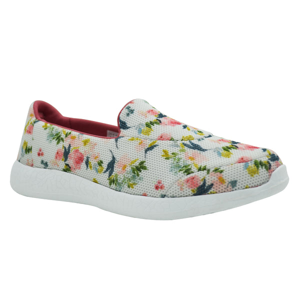 LILLY WHITE - KazarMax Women's White Pink Floral Comfortable Walking Slipons/Sneakers