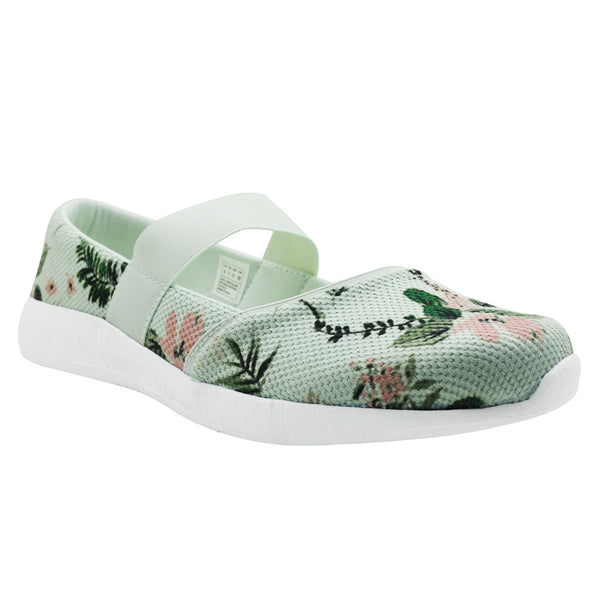 DAME - KazarMax Women's & Girl's Sea Green Floral Printed Memory Foam Ballerinas/Bellies/Slipons