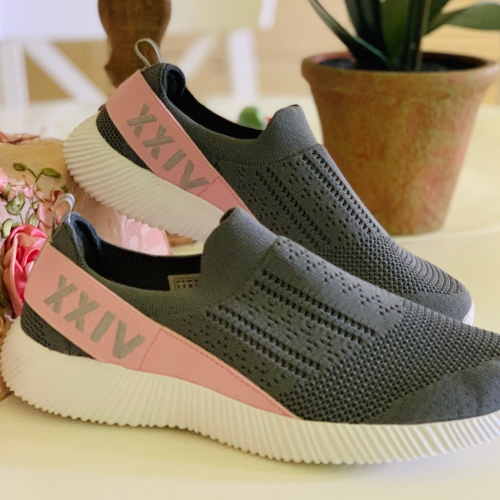 PINKO - KazarMax XXIV Women's & Girl's Comfortable Grey-Pink Slipon Socks Sneakers/Trainers