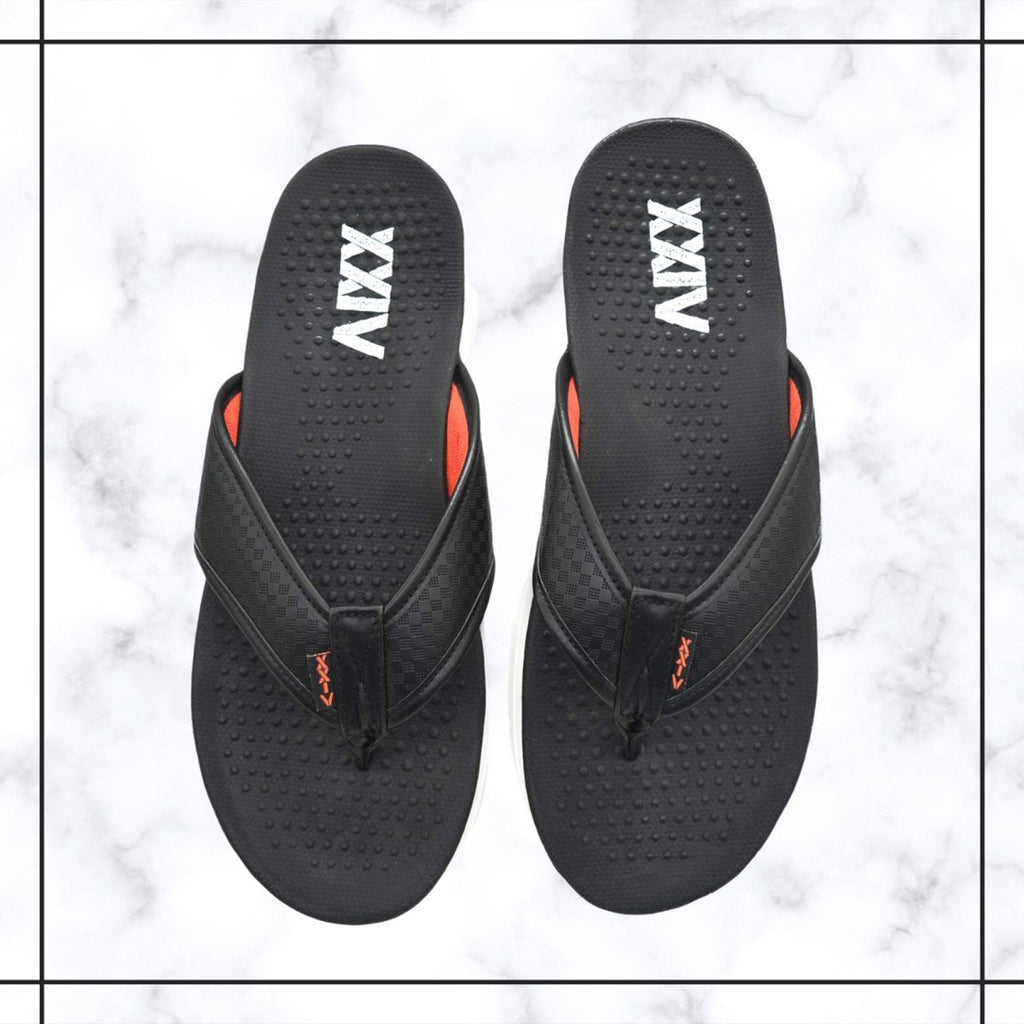 PITCH DARK - KazarMax Men's Black Red Memory Foam Anti Skid Slippers/Flip Flops
