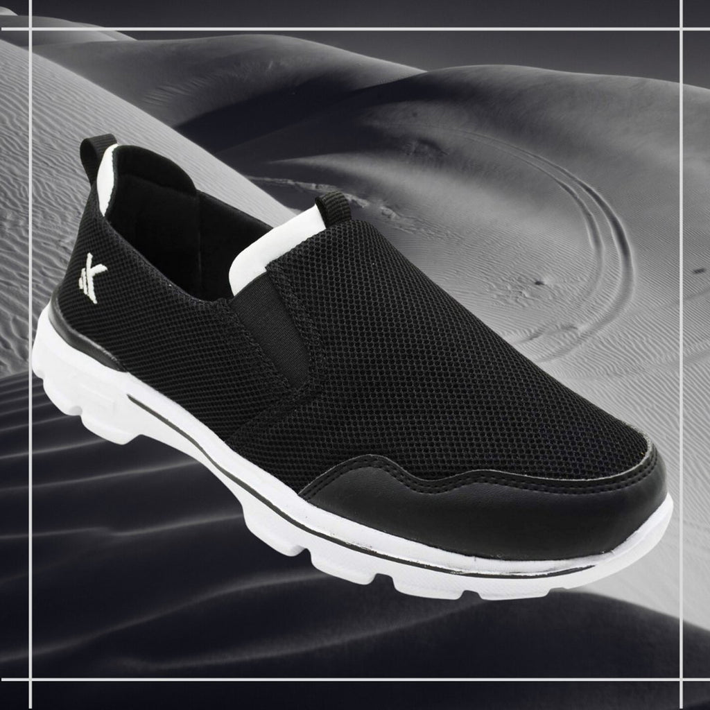 MOCCS BLACK & WHITE - KazarMax Men's Black & White Walking Slipon Sneakers/Shoes