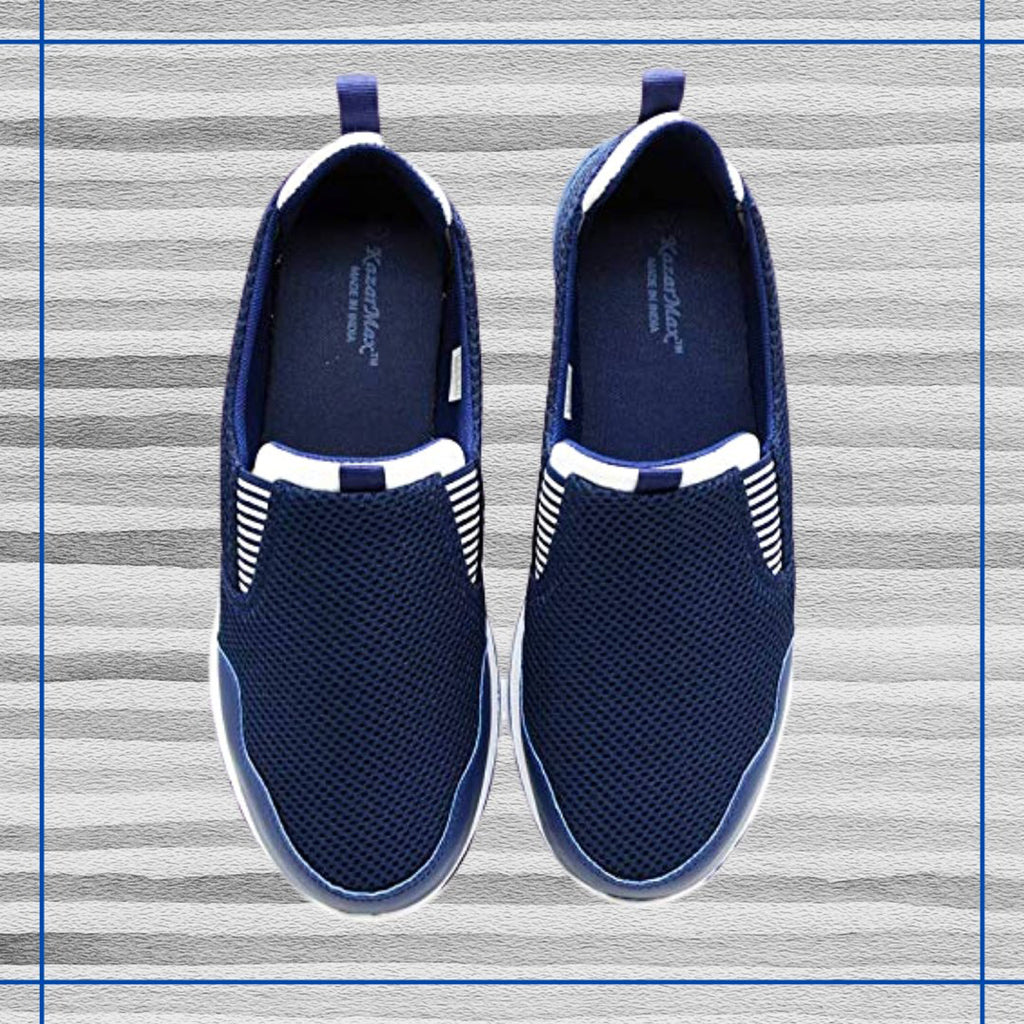 MOCCS NAVY STRIPES - KazarMax Men's Navy & White Stripes Walking Slipon Sneakers/Shoes