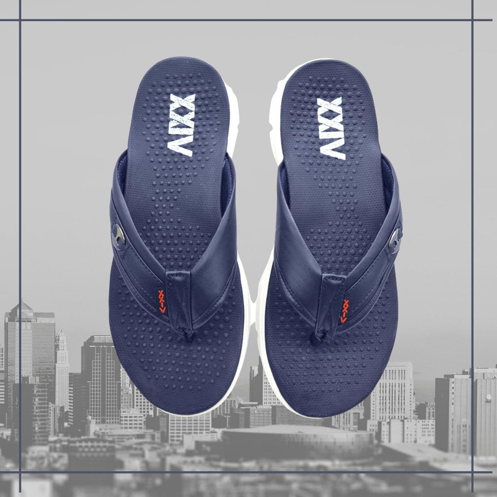 NAVY MARINE - KazarMax Men's Navy Buckle Memory Foam Anti Skid Slippers/Flip Flops