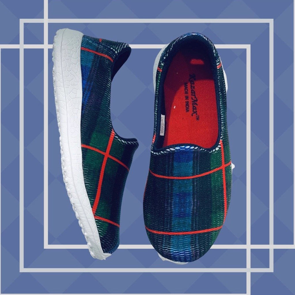 CHECKERED - NAVY - KazarMax Boy's & Girl's (Unisex) Navy Red Printed Slipon/Loafer/Sneaker Shoes