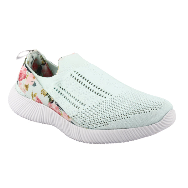 FLORAL MINT - KazarMax XXIV Women's & Girl's Comfortable Mint Green Floral Slipon Socks Sneakers/Trainers