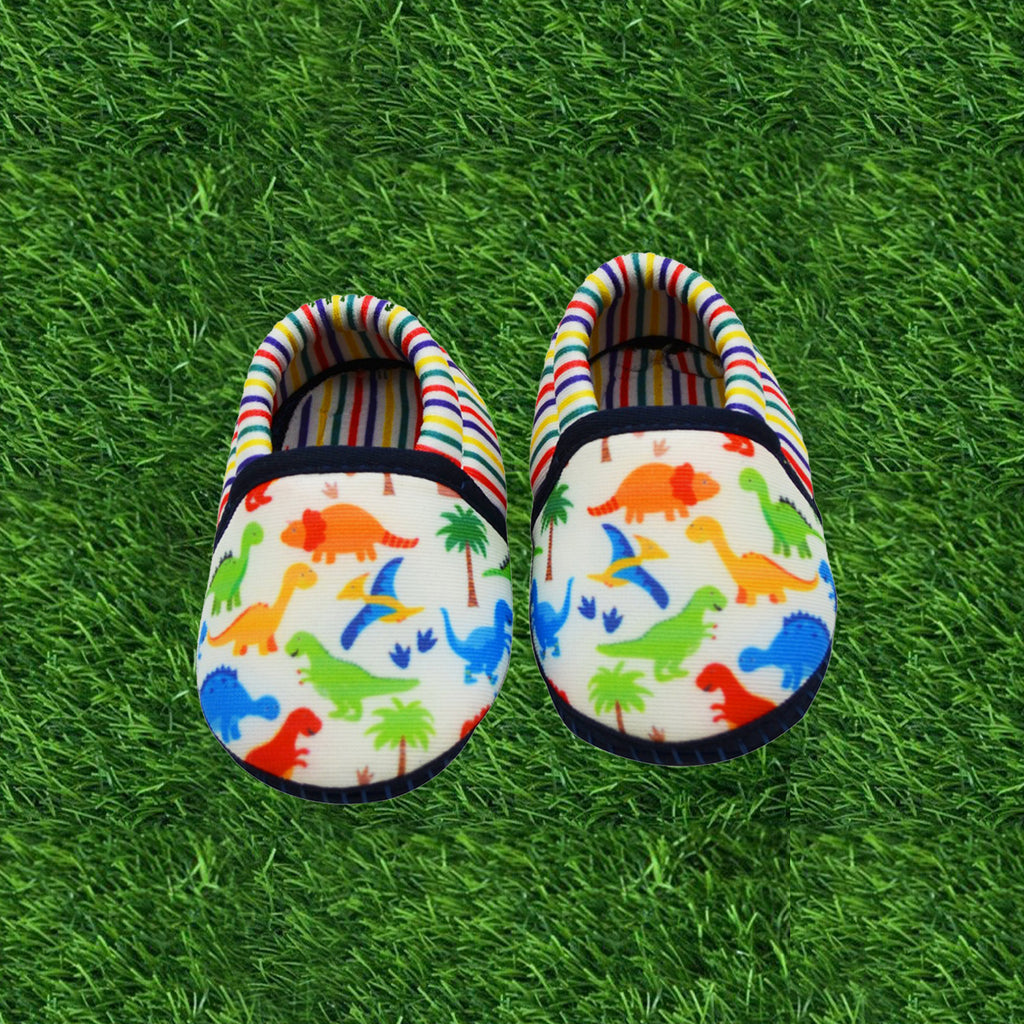 DINO DUDE TOOTSIES - KazarMax Anti-Skid Breathable Soft Comfortable Blue Multicolour New Born Baby Boy Mocassin Shoes/Booties