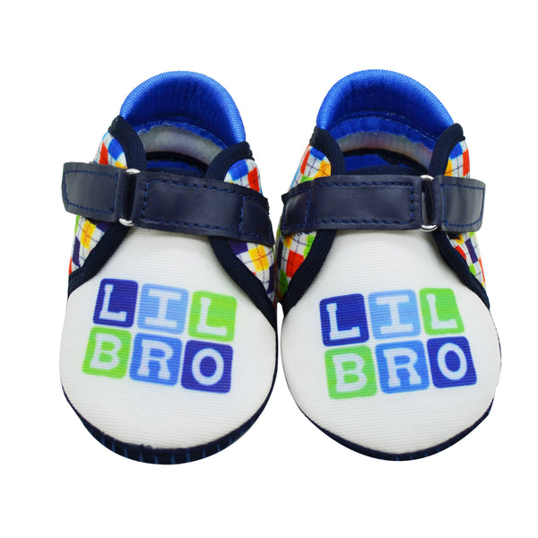 LIL BRO TOOTSIES - KazarMax Anti-Skid Breathable Soft Comfortable Blue White New Born Baby Boy Shoes/Booties